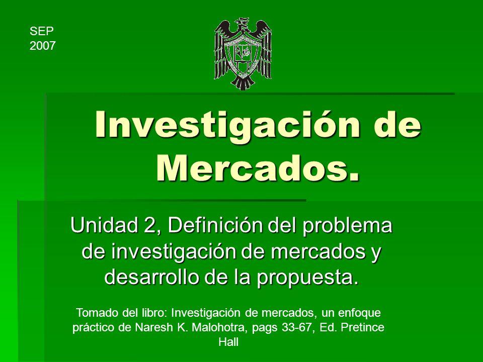 Investigación de Mercados. Unidad 2, Definición del problema de investigación de mercados y desarrollo de la propuesta. Tomado del libro: Investigació