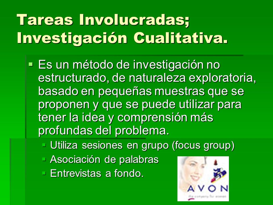Tareas Involucradas; Investigación Cualitativa. Es un método de investigación no estructurado, de naturaleza exploratoria, basado en pequeñas muestras
