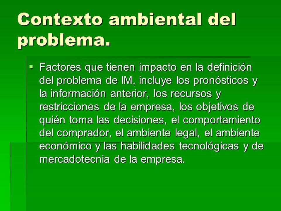 Contexto ambiental del problema. Factores que tienen impacto en la definición del problema de IM, incluye los pronósticos y la información anterior, l