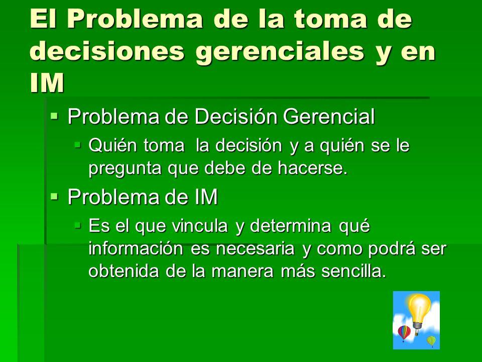 El Problema de la toma de decisiones gerenciales y en IM Problema de Decisión Gerencial Problema de Decisión Gerencial Quién toma la decisión y a quién se le pregunta que debe de hacerse.