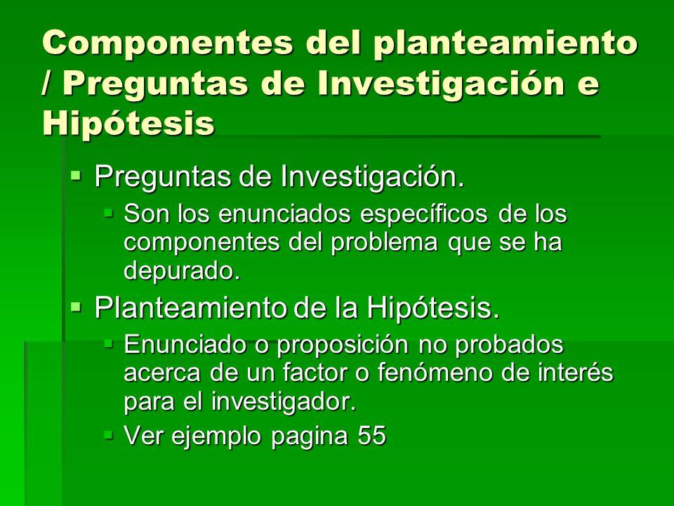 Componentes del planteamiento / Preguntas de Investigación e Hipótesis Preguntas de Investigación.