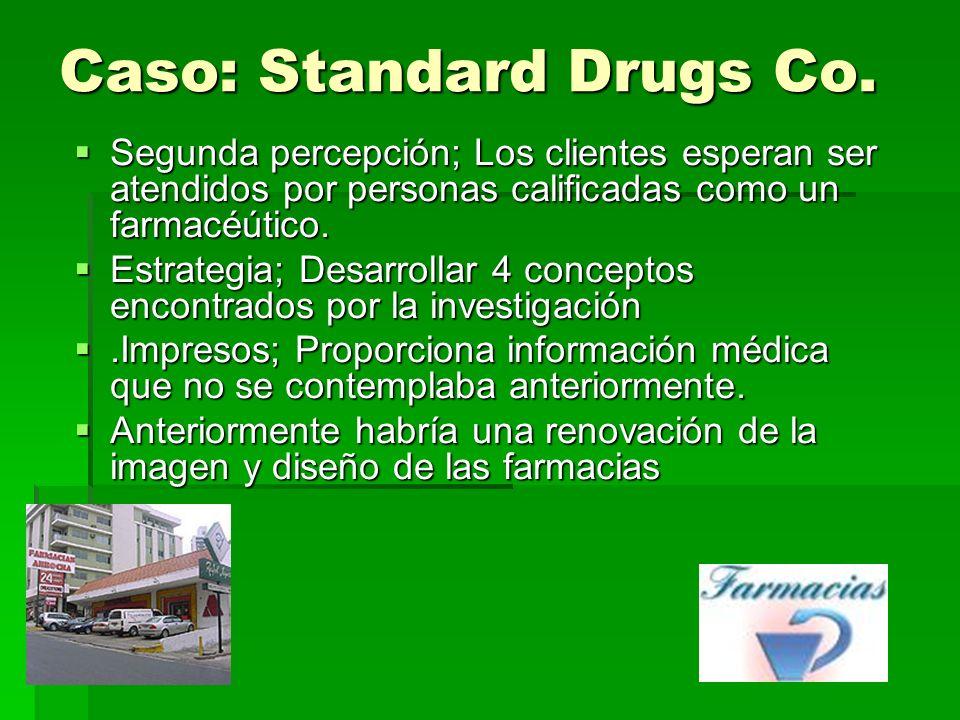 Caso: Standard Drugs Co. Segunda percepción; Los clientes esperan ser atendidos por personas calificadas como un farmacéútico. Segunda percepción; Los