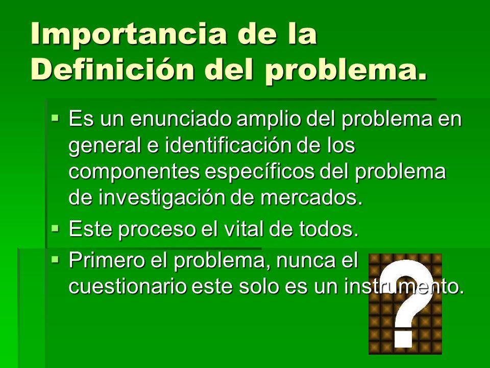 Importancia de la Definición del problema. Es un enunciado amplio del problema en general e identificación de los componentes específicos del problema