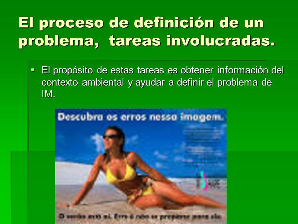 El proceso de definición de un problema, tareas involucradas. El propósito de estas tareas es obtener información del contexto ambiental y ayudar a de