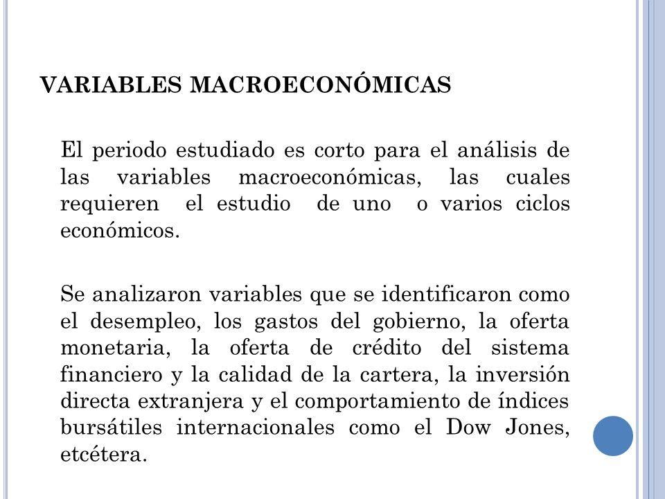 VARIABLES MACROECONÓMICAS El periodo estudiado es corto para el análisis de las variables macroeconómicas, las cuales requieren el estudio de uno o va