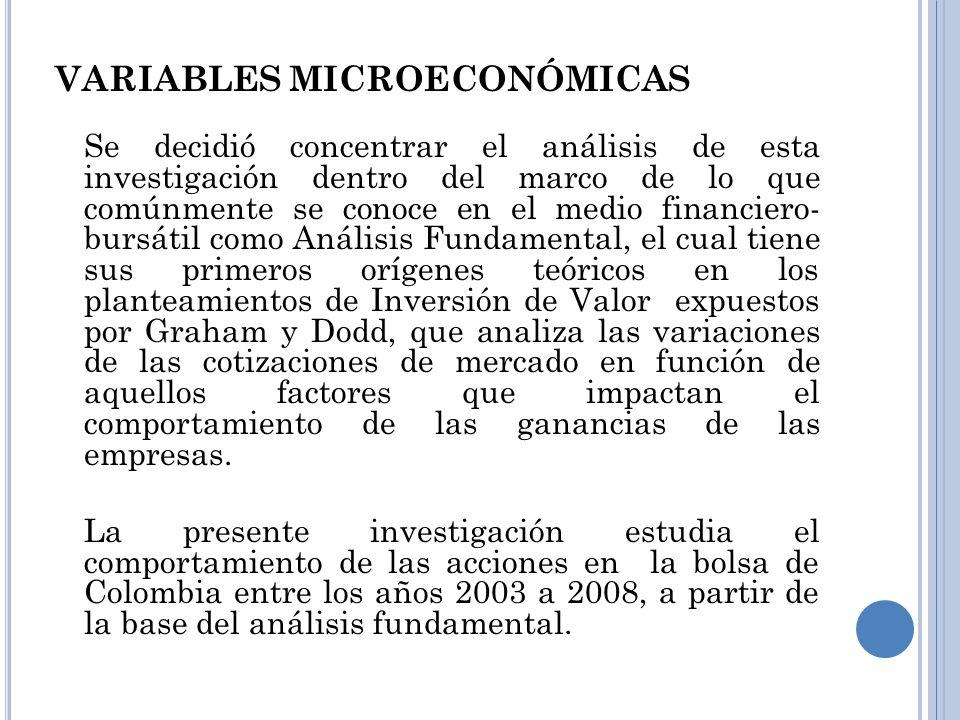 VARIABLES MICROECONÓMICAS Se decidió concentrar el análisis de esta investigación dentro del marco de lo que comúnmente se conoce en el medio financie