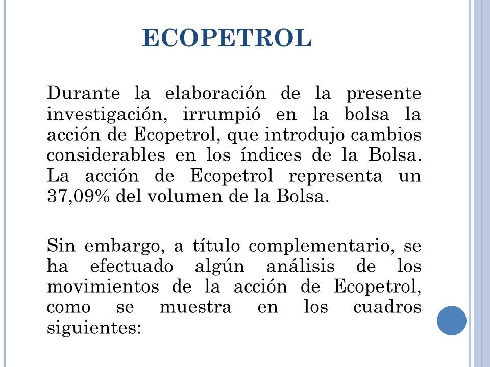 ECOPETROL Durante la elaboración de la presente investigación, irrumpió en la bolsa la acción de Ecopetrol, que introdujo cambios considerables en los