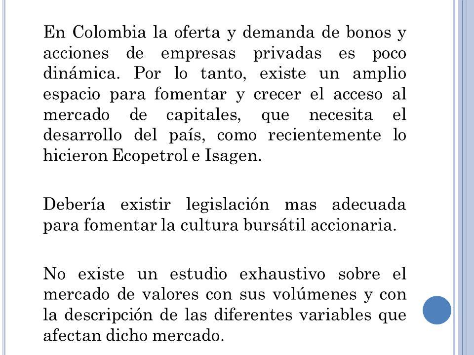 En Colombia la oferta y demanda de bonos y acciones de empresas privadas es poco dinámica. Por lo tanto, existe un amplio espacio para fomentar y crec