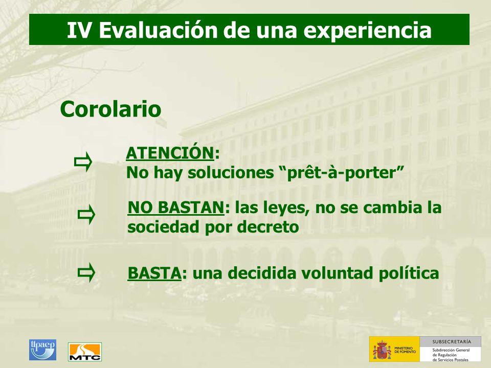 ATENCIÓN: No hay soluciones prêt-à-porter IV Evaluación de una experiencia Corolario BASTA: una decidida voluntad política NO BASTAN: las leyes, no se
