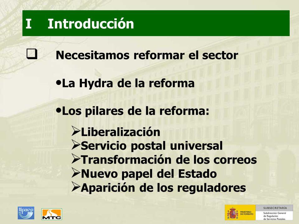 I Introducción Necesitamos reformar el sector La Hydra de la reforma Los pilares de la reforma: Liberalización Servicio postal universal Transformació