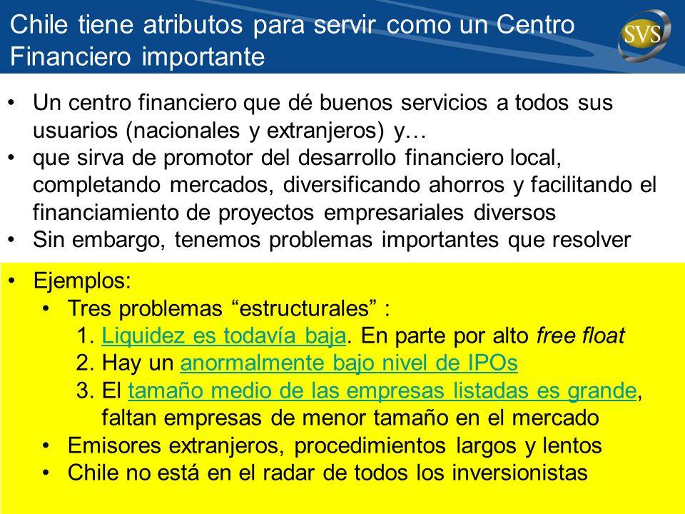 Chile tiene atributos para servir como un Centro Financiero importante Un centro financiero que dé buenos servicios a todos sus usuarios (nacionales y
