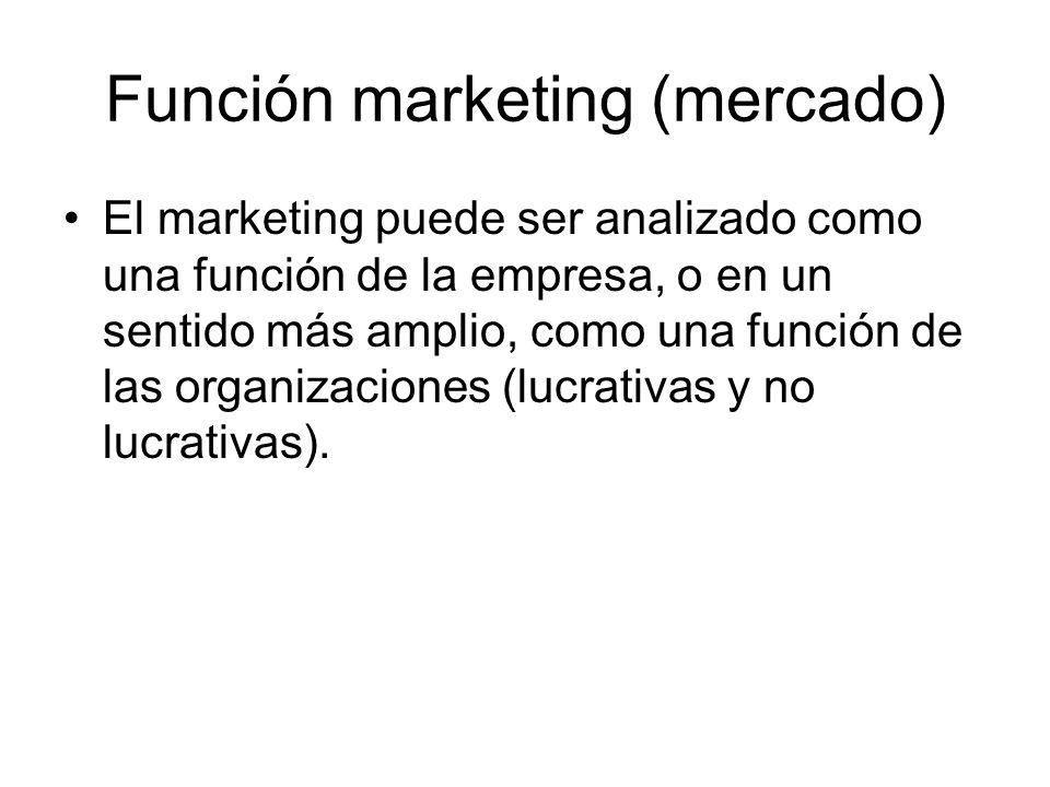 Función marketing (mercado) El marketing puede ser analizado como una función de la empresa, o en un sentido más amplio, como una función de las organ