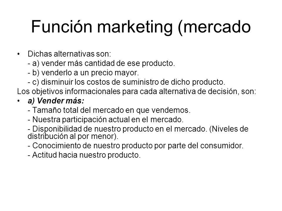 Función marketing (mercado Dichas alternativas son: - a) vender más cantidad de ese producto. - b) venderlo a un precio mayor. - c) disminuir los cost