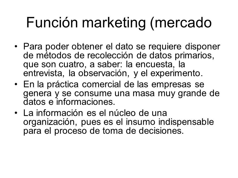 Función marketing (mercado Para poder obtener el dato se requiere disponer de métodos de recolección de datos primarios, que son cuatro, a saber: la e