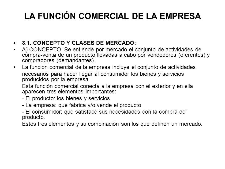 LA FUNCIÓN COMERCIAL DE LA EMPRESA 3.1. CONCEPTO Y CLASES DE MERCADO: A) CONCEPTO: Se entiende por mercado el conjunto de actividades de compra-venta