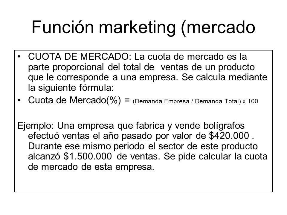 Función marketing (mercado CUOTA DE MERCADO: La cuota de mercado es la parte proporcional del total deventas de un producto que le corresponde a una e