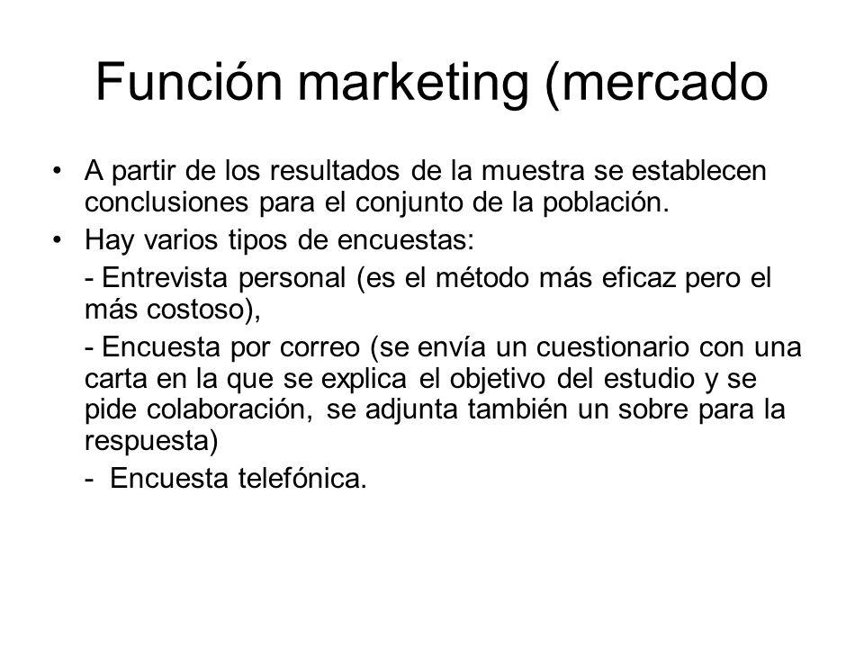 Función marketing (mercado A partir de los resultados de la muestra se establecen conclusiones para el conjunto de la población. Hay varios tipos de e