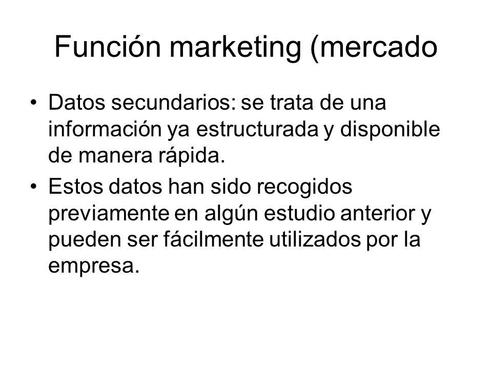 Función marketing (mercado Datos secundarios: se trata de una información ya estructurada y disponible de manera rápida. Estos datos han sido recogido