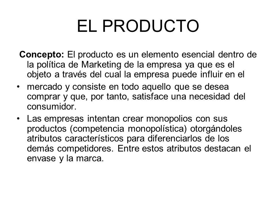 EL PRODUCTO Concepto: El producto es un elemento esencial dentro de la política de Marketing de la empresa ya que es el objeto a través del cual la em