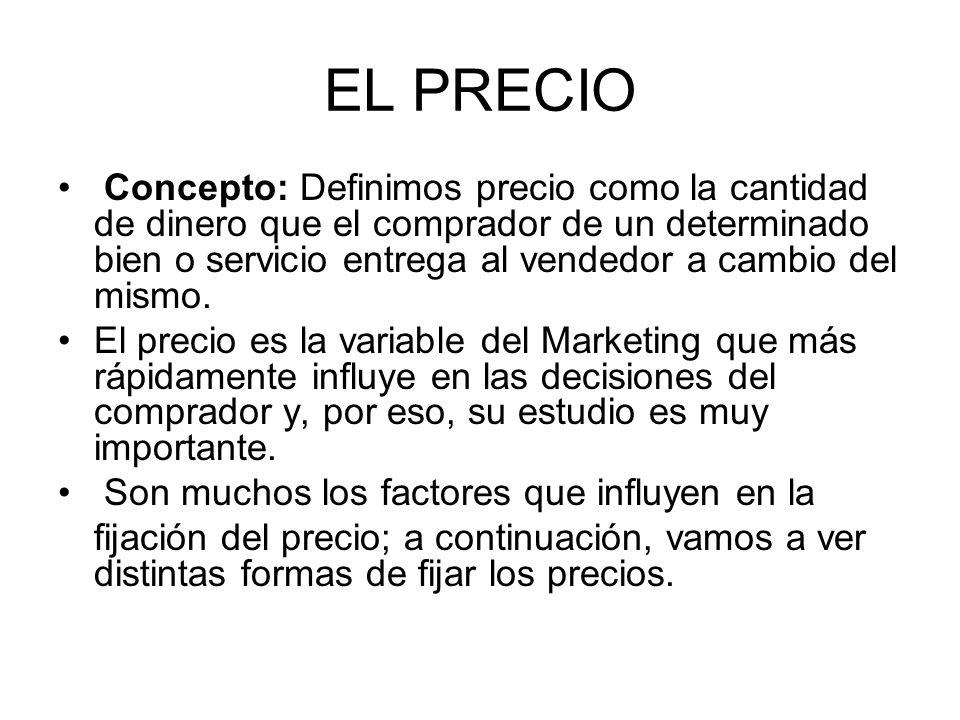 EL PRECIO Concepto: Definimos precio como la cantidad de dinero que el comprador de un determinado bien o servicio entrega al vendedor a cambio del mi
