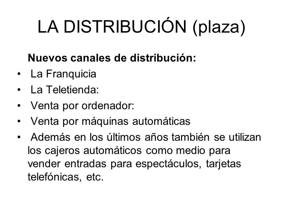 LA DISTRIBUCIÓN (plaza) Nuevos canales de distribución: La Franquicia La Teletienda: Venta por ordenador: Venta por máquinas automáticas Además en los