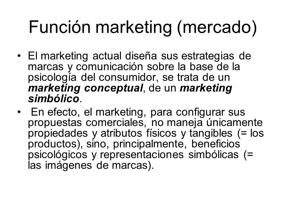 Función marketing (mercado) El marketing actual diseña sus estrategias de marcas y comunicación sobre la base de la psicología del consumidor, se trat