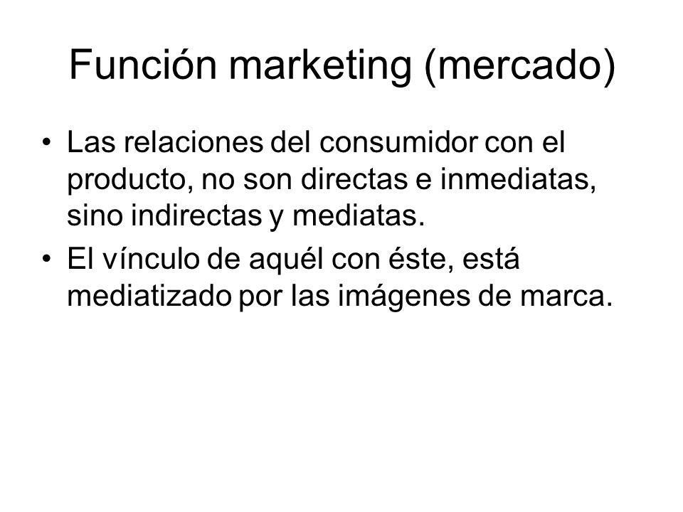 Función marketing (mercado) Las relaciones del consumidor con el producto, no son directas e inmediatas, sino indirectas y mediatas. El vínculo de aqu