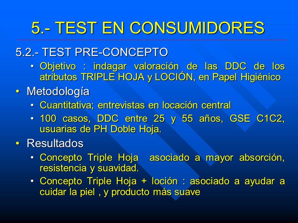 5.- TEST EN CONSUMIDORES 5.2.- TEST PRE-CONCEPTO Objetivo : indagar valoración de las DDC de los atributos TRIPLE HOJA y LOCIÓN, en Papel HigiénicoObj