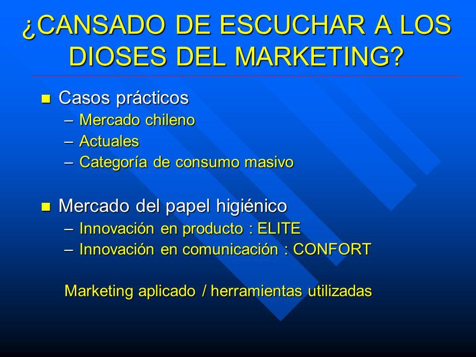 ¿CANSADO DE ESCUCHAR A LOS DIOSES DEL MARKETING? Casos prácticos Casos prácticos –Mercado chileno –Actuales –Categoría de consumo masivo Mercado del p