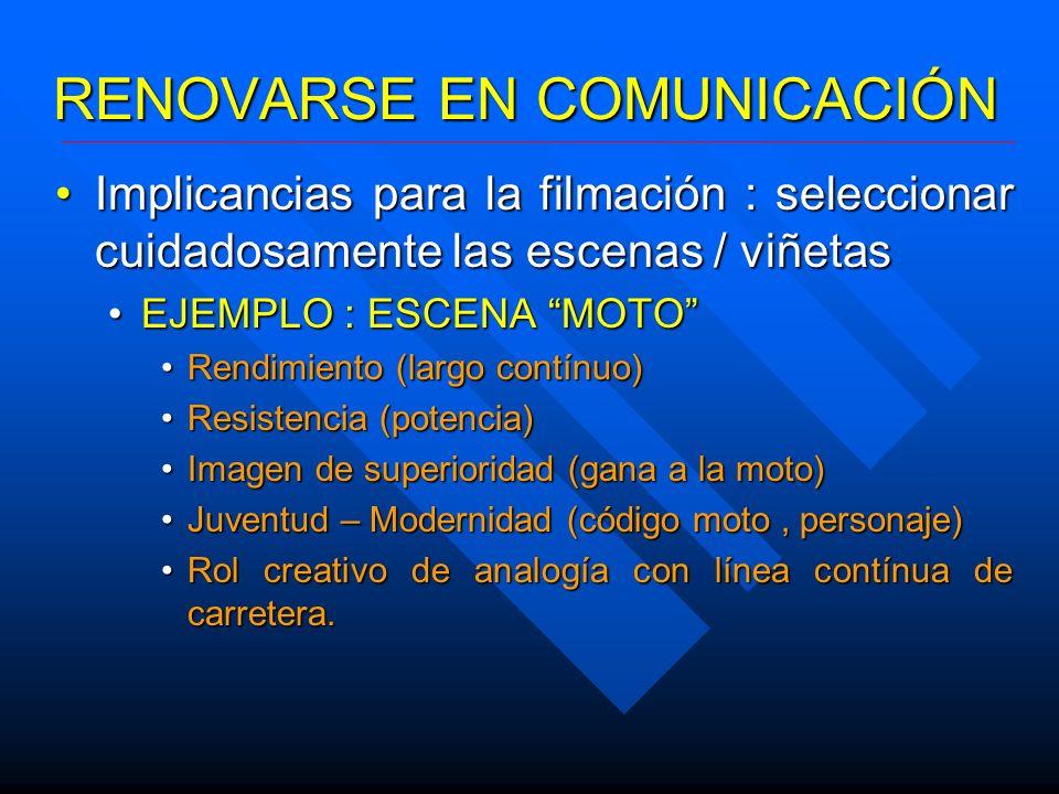 RENOVARSE EN COMUNICACIÓN Implicancias para la filmación : seleccionar cuidadosamente las escenas / viñetasImplicancias para la filmación : selecciona