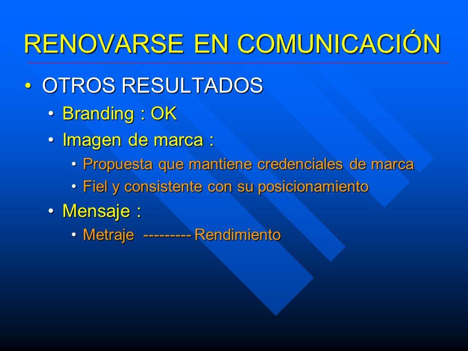 RENOVARSE EN COMUNICACIÓN OTROS RESULTADOSOTROS RESULTADOS Branding : OKBranding : OK Imagen de marca :Imagen de marca : Propuesta que mantiene creden