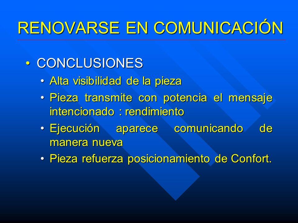 RENOVARSE EN COMUNICACIÓN CONCLUSIONESCONCLUSIONES Alta visibilidad de la piezaAlta visibilidad de la pieza Pieza transmite con potencia el mensaje in