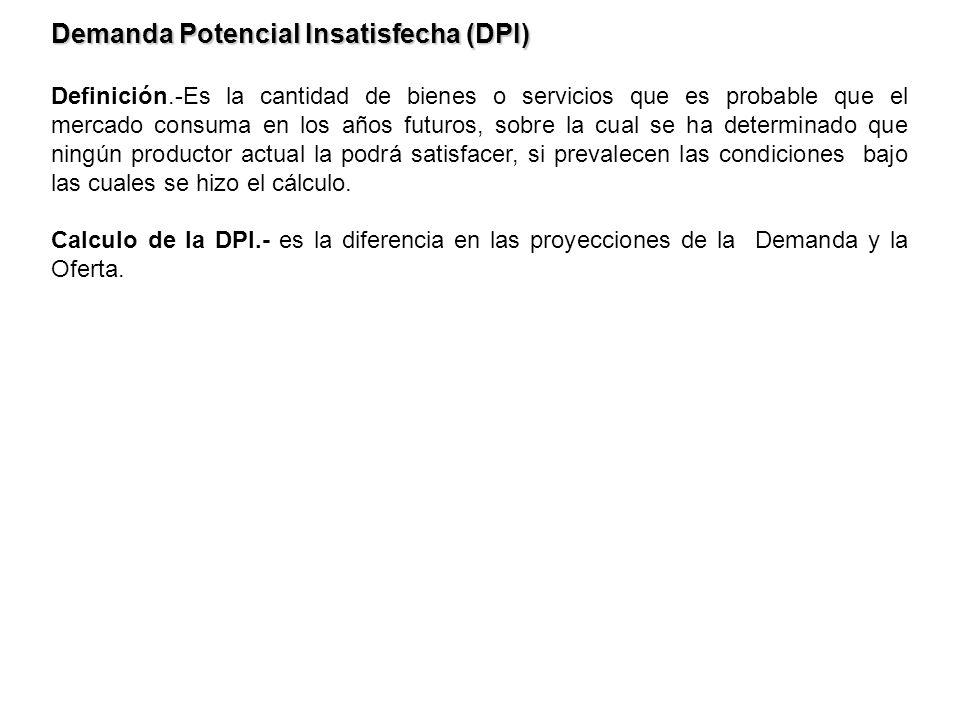 Demanda Potencial Insatisfecha (DPI) Definición.-Es la cantidad de bienes o servicios que es probable que el mercado consuma en los años futuros, sobr