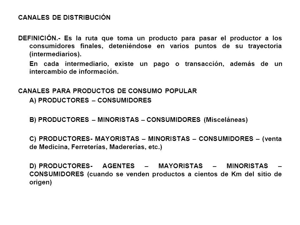 CANALES DE DISTRIBUCIÓN DEFINICIÓN.- Es la ruta que toma un producto para pasar el productor a los consumidores finales, deteniéndose en varios puntos de su trayectoria (intermediarios).