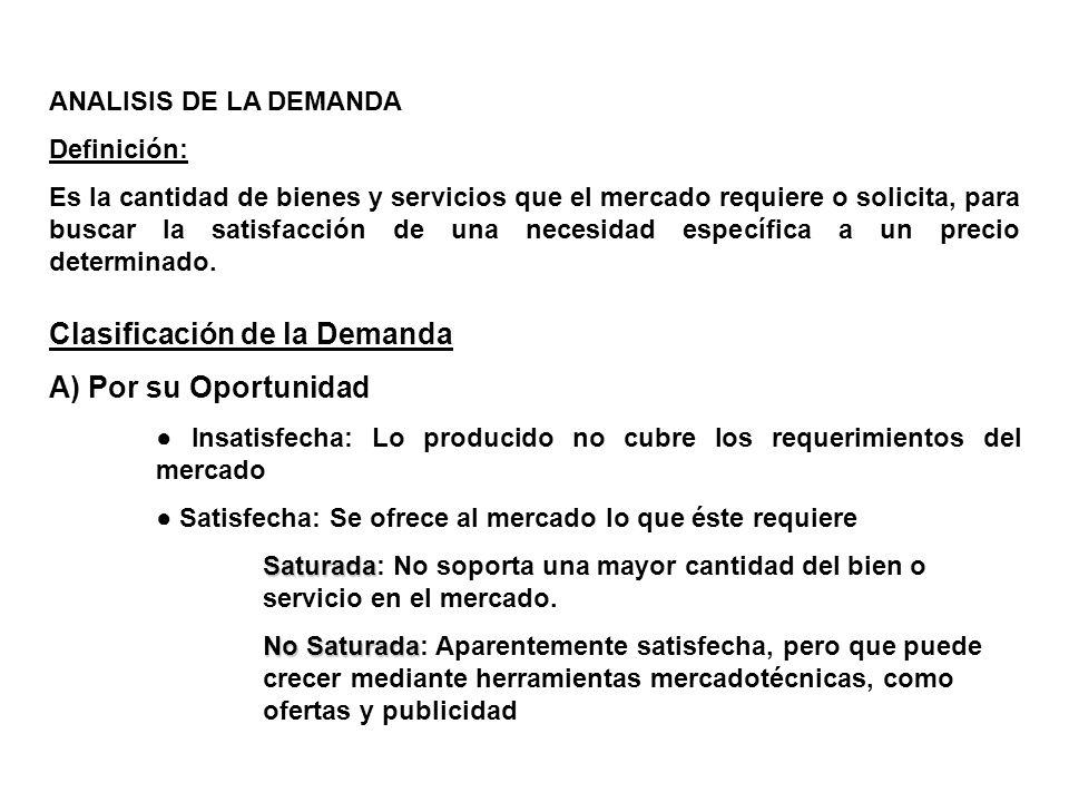 ANALISIS DE LA DEMANDA Definición: Es la cantidad de bienes y servicios que el mercado requiere o solicita, para buscar la satisfacción de una necesid