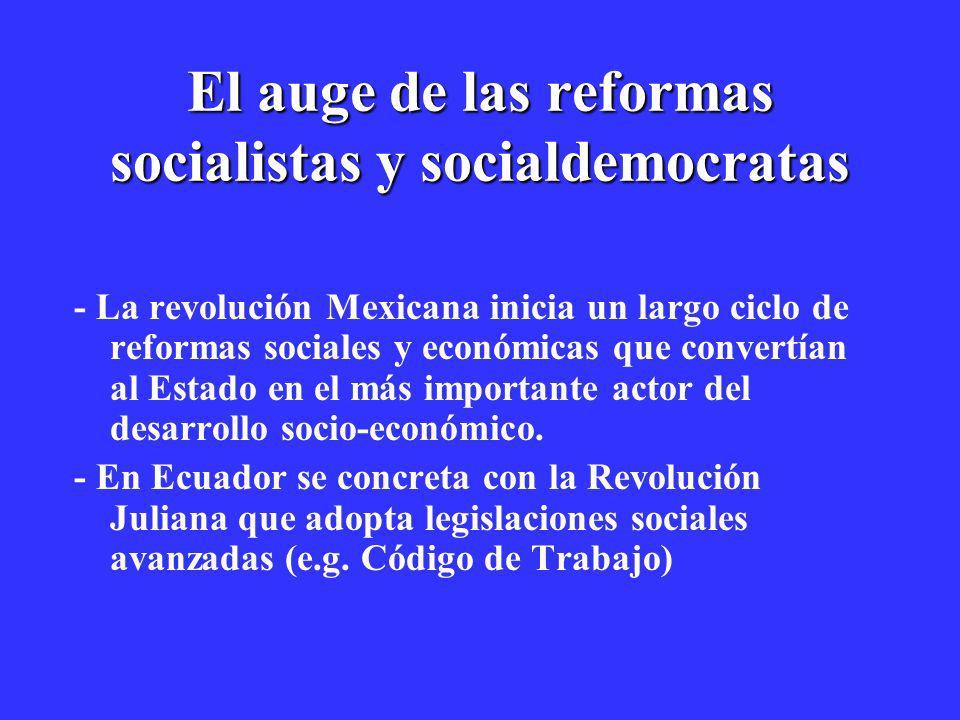 El auge de las reformas socialistas y socialdemocratas - La revolución Mexicana inicia un largo ciclo de reformas sociales y económicas que convertían