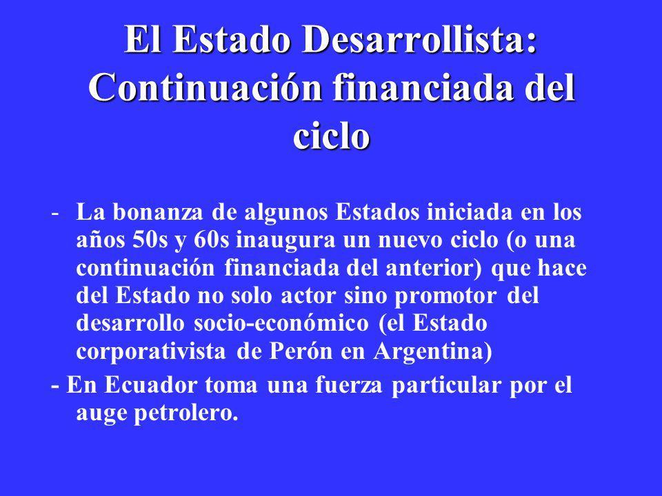 El Estado Desarrollista: Continuación financiada del ciclo -La bonanza de algunos Estados iniciada en los años 50s y 60s inaugura un nuevo ciclo (o un