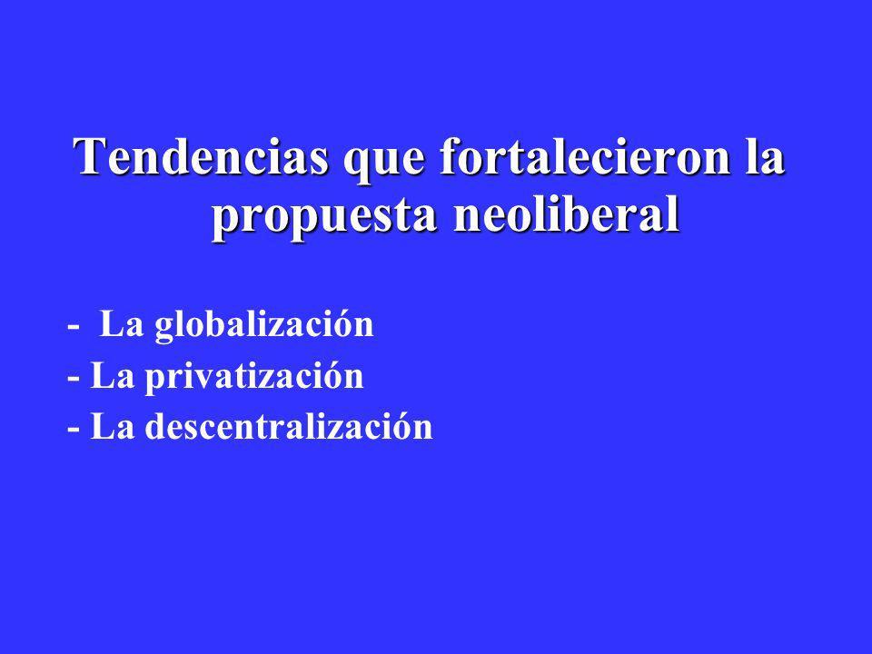 Tendencias que fortalecieron la propuesta neoliberal - La globalización - La privatización - La descentralización