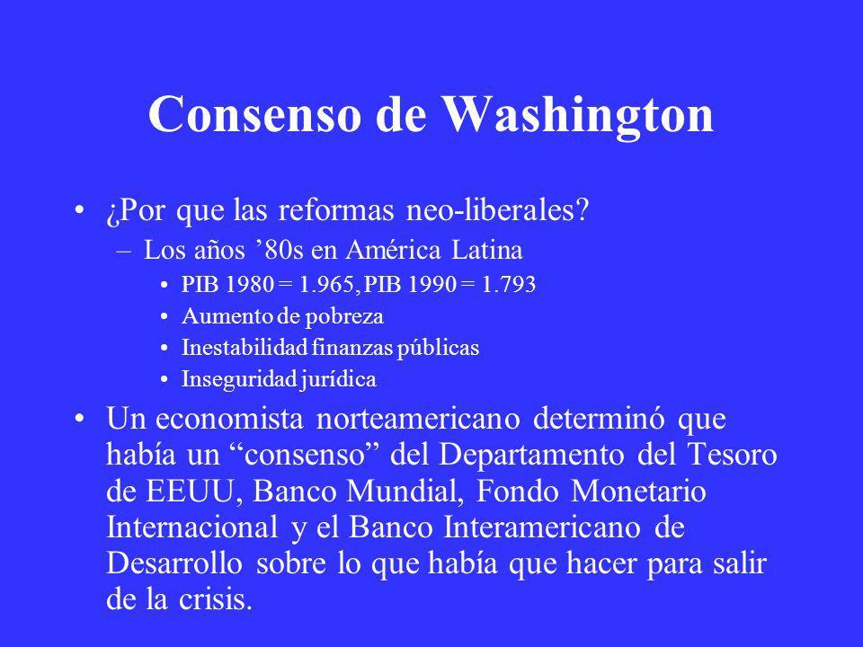 Consenso de Washington ¿Por que las reformas neo-liberales? –Los años 80s en América Latina PIB 1980 = 1.965, PIB 1990 = 1.793 Aumento de pobreza Ines