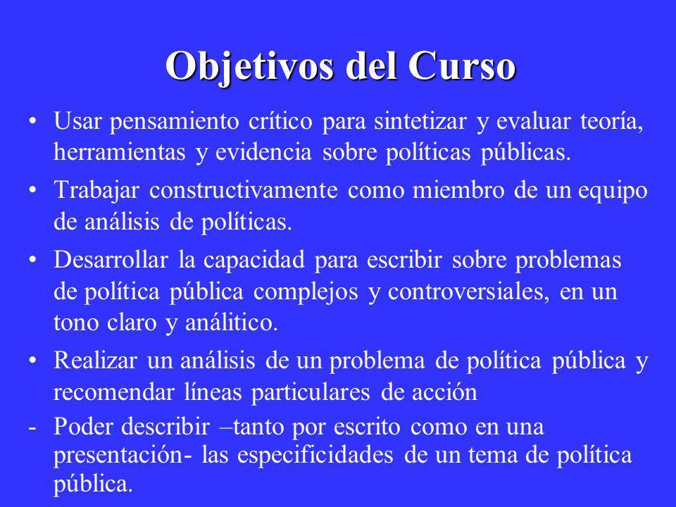 Objetivos del Curso Usar pensamiento crítico para sintetizar y evaluar teoría, herramientas y evidencia sobre políticas públicas. Trabajar constructiv