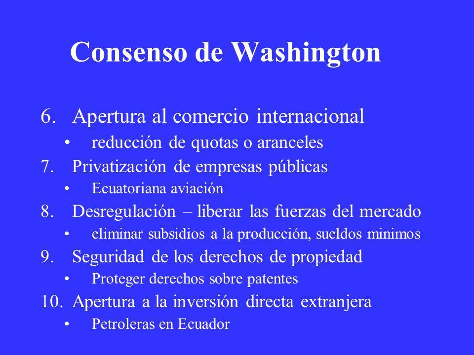 Consenso de Washington 6.Apertura al comercio internacional reducción de quotas o aranceles 7.Privatización de empresas públicas Ecuatoriana aviación