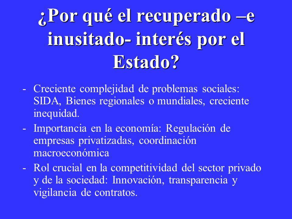 ¿Por qué el recuperado –e inusitado- interés por el Estado? -Creciente complejidad de problemas sociales: SIDA, Bienes regionales o mundiales, crecien