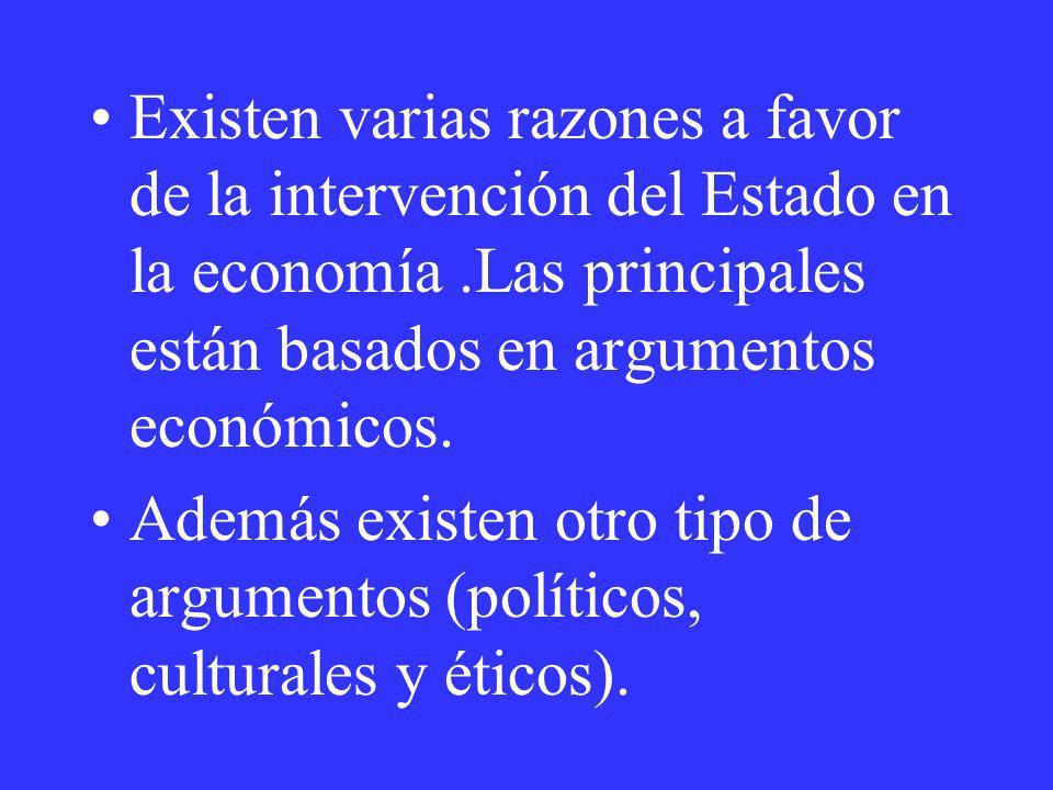 Existen varias razones a favor de la intervención del Estado en la economía.Las principales están basados en argumentos económicos. Además existen otr