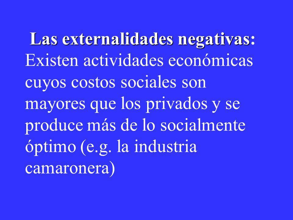 Las externalidades negativas Las externalidades negativas: Existen actividades económicas cuyos costos sociales son mayores que los privados y se prod