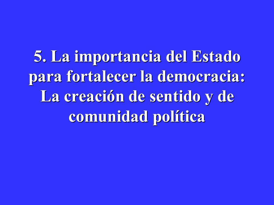 5. La importancia del Estado para fortalecer la democracia: La creación de sentido y de comunidad política