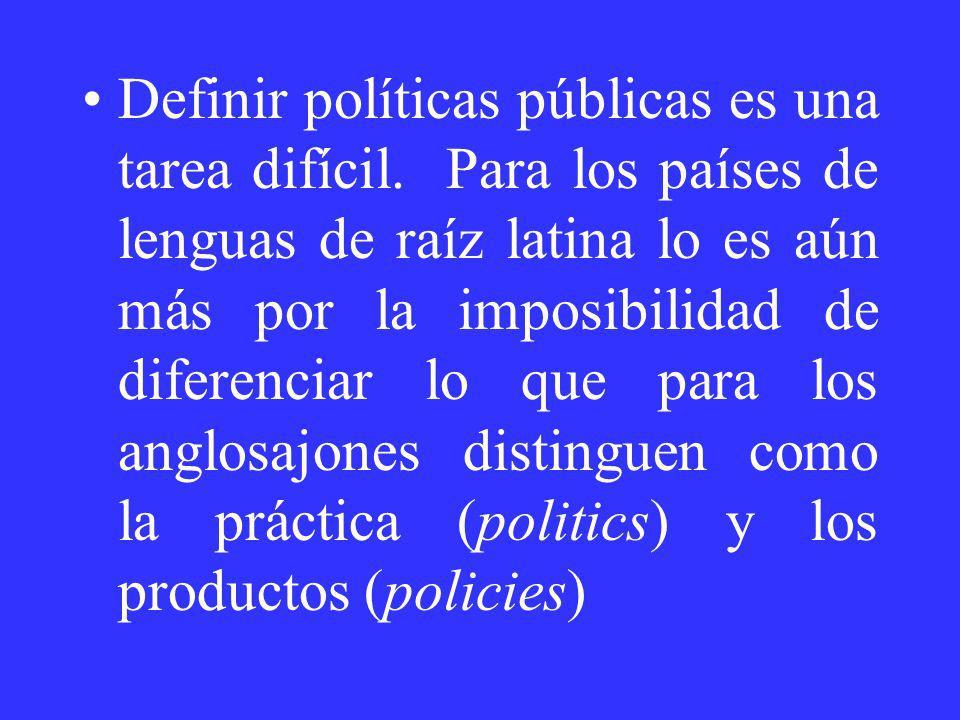 Definir políticas públicas es una tarea difícil. Para los países de lenguas de raíz latina lo es aún más por la imposibilidad de diferenciar lo que pa