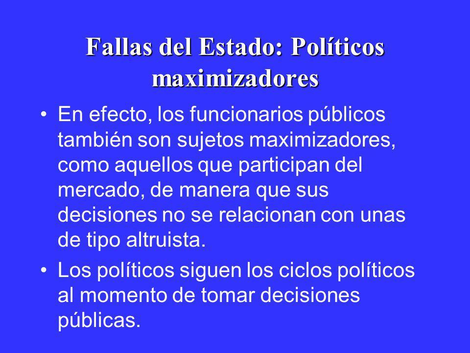 Fallas del Estado: Políticos maximizadores En efecto, los funcionarios públicos también son sujetos maximizadores, como aquellos que participan del me