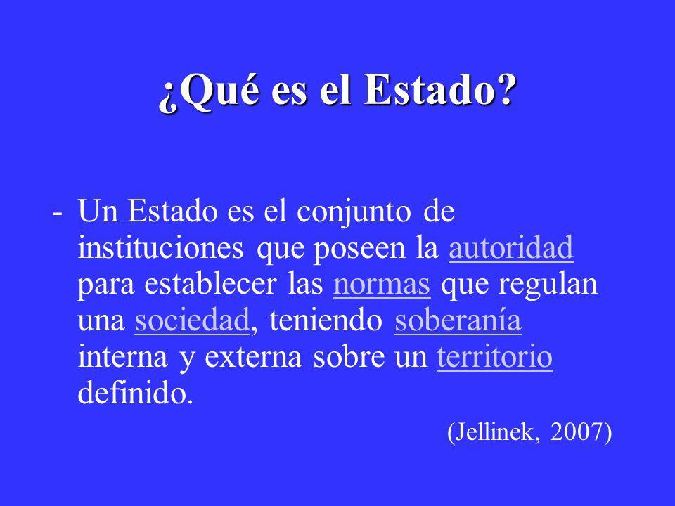 ¿Qué es el Estado? -Un Estado es el conjunto de instituciones que poseen la autoridad para establecer las normas que regulan una sociedad, teniendo so