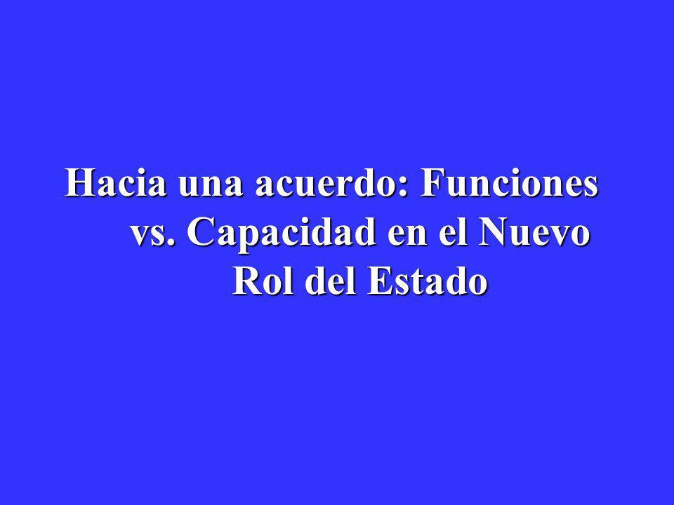 Hacia una acuerdo: Funciones vs. Capacidad en el Nuevo Rol del Estado Hacia una acuerdo: Funciones vs. Capacidad en el Nuevo Rol del Estado