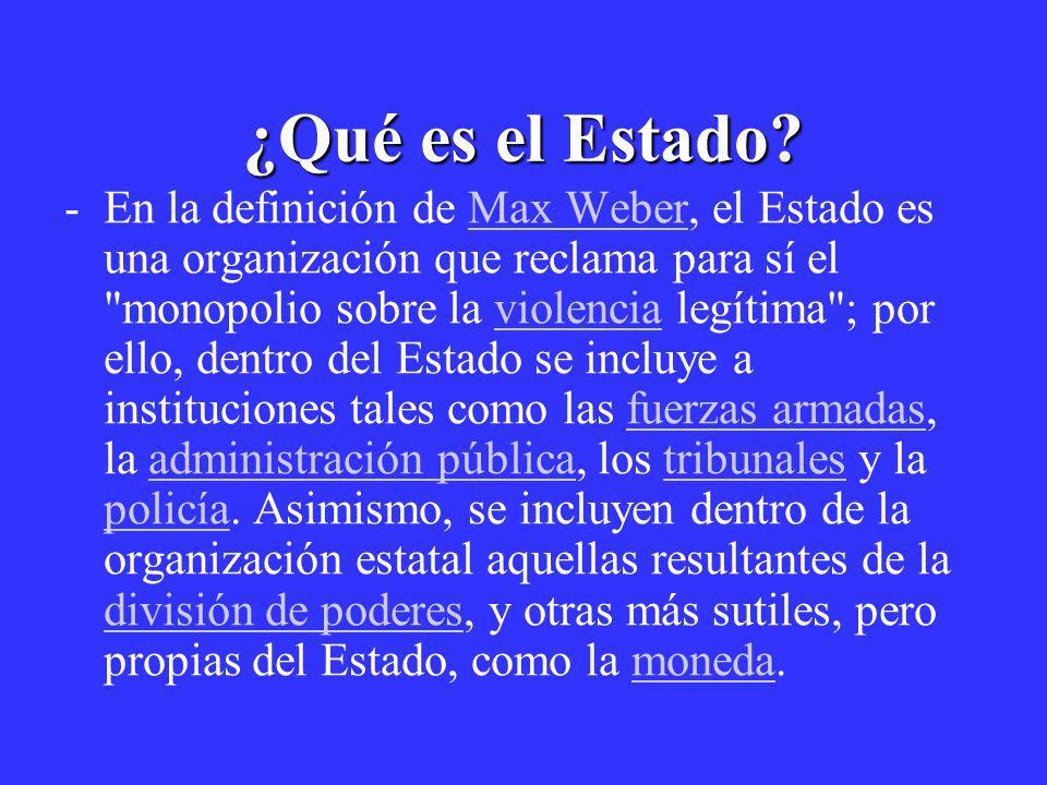 ¿Qué es el Estado? -En la definición de Max Weber, el Estado es una organización que reclama para sí el